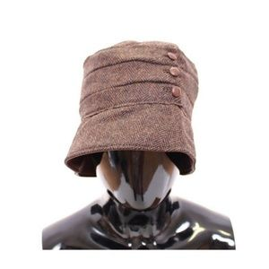 D10203-1 Brown Wool Leather Bucket Hat Cappello